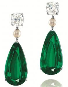 Emerald Pearl Diamond Earrings.
