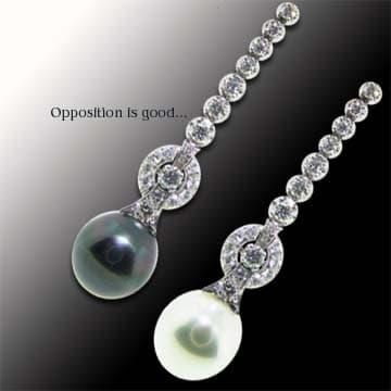 Opposing Pearl And Diamond Drop Earrings 1