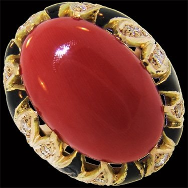 Coral, diamond and enamel ring 1