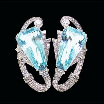 Aquamarine Double Clip Brooch From The Art Deco Period 1