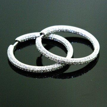 Micro Pave Diamond Hoop Earrings. 1