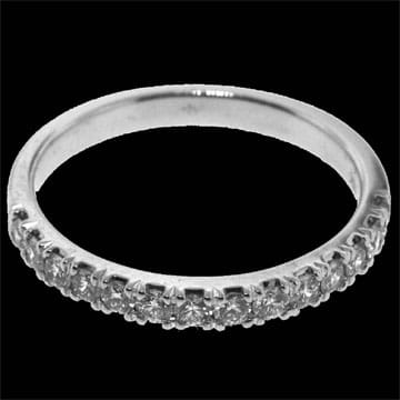 Square set half eternity style wedding band: