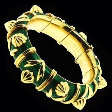 Jean Schlumberger For Tiffany &Amp; Co Green Enamel Bracelet 1
