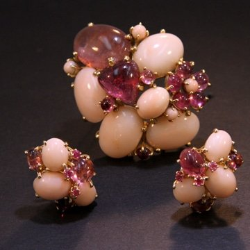 Angel Skin Coral And Pink Tourmaline Suite 1