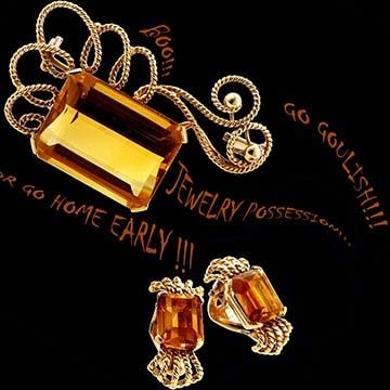 Retro Citrine Brooch And Earring Suite 1
