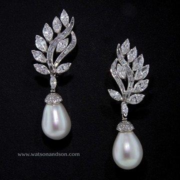 South Sea Pearl And Diamond Clips 1
