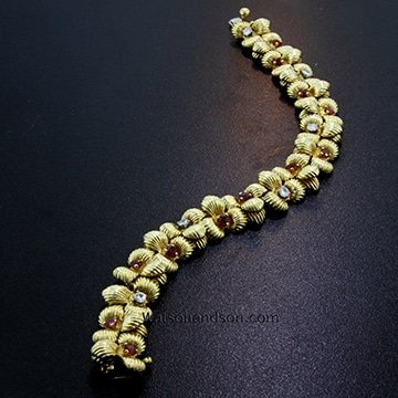 Retro Orchid Bracelet With Rubies And Diamonds 1