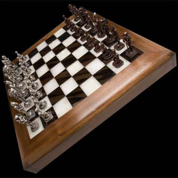 Checkmate Sterling silver and bronze chess set 1