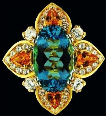 Aquamarine and orange sapphire ring 1