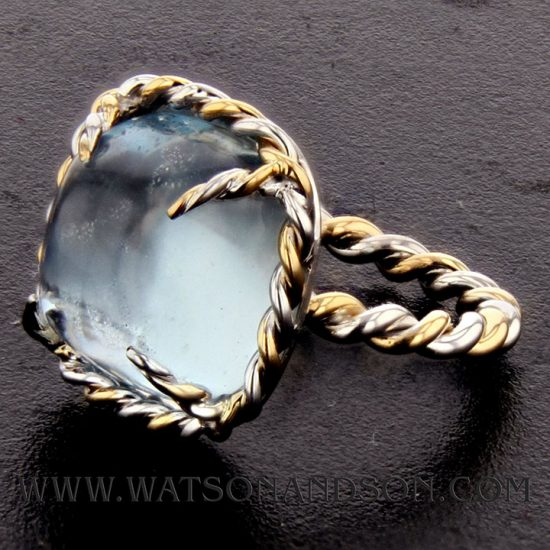French Twist Cabochon Cut Aquamarine Ring 3