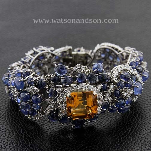 Citrine Diamond And Cabochon Cut Sapphire Bracelet 1