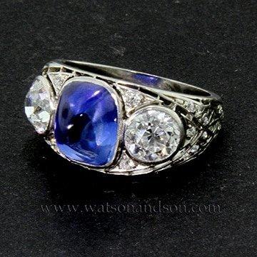 Cabochon Cut Sapphire And Diamond 1