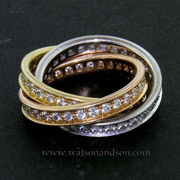 Cartier Diamond 3 Color Trinity Rolling Ring 1