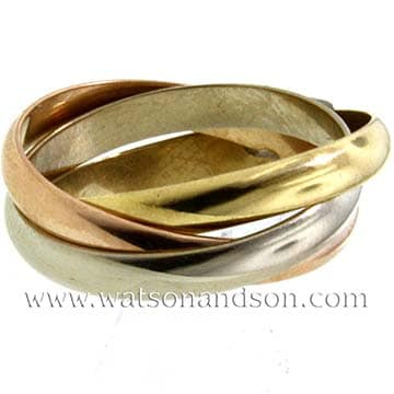 Tri Color Cartier Trinity Rolling Ring 1