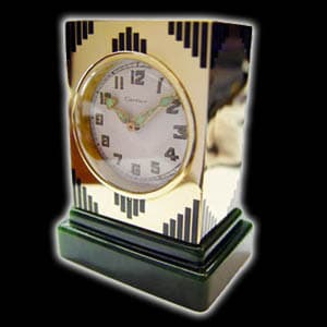 14 Kt Yellow Gold Cartier Clock With A Spinach Jade Base Circa 1920'S 1