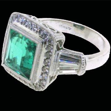 Emerald And Micro Pave Diamond Ring 1