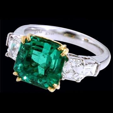 Emerald Cut Emerald Solitaire Ring 1