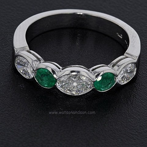 Oval Emerald And Diamond Wedding Band 1