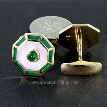 Cabochon Emerald Cuff Links 2