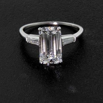 Emerald Cut Diamond Platinum Solitaire Ring 1