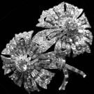 Art Deco, Platinum Double Clip Flower Brooch 2