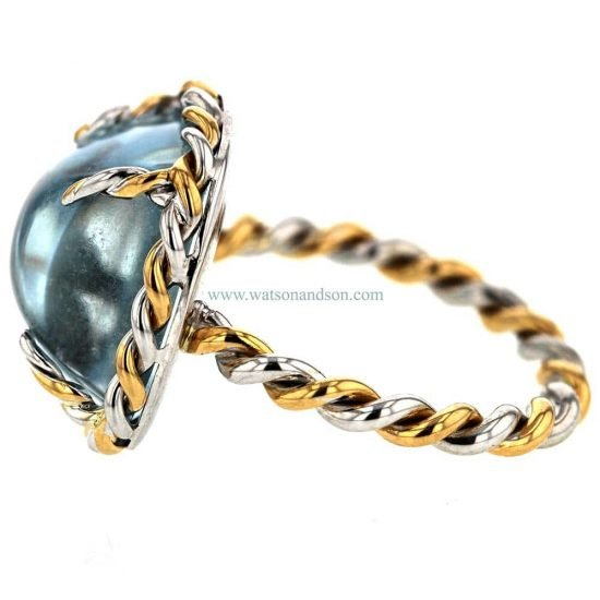 French Twist Cabochon Cut Aquamarine Ring 5