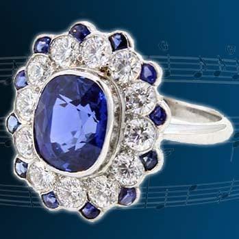 Cushion Cut Natural Blue Ceylon Sapphire Ring 1