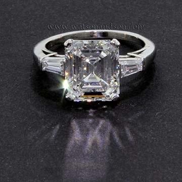 Classic emerald cut diamond ring in platinum