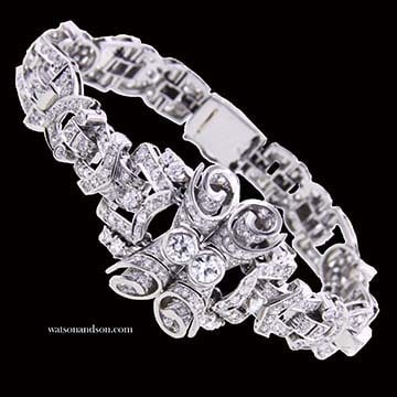 Retro Platinum And Diamond Bracelet 1