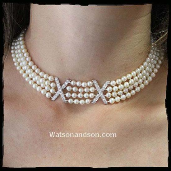 Ruser Platinum Diamond And Pearl Choker Necklace 1