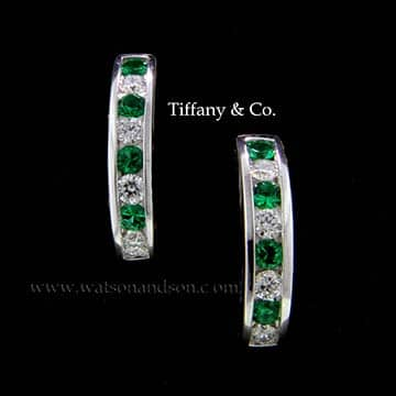 Tiffany Emerald And Diamond Hoop Earrings 1