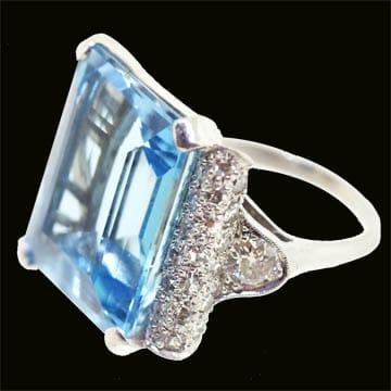 Aquamarine Deco Ring 1