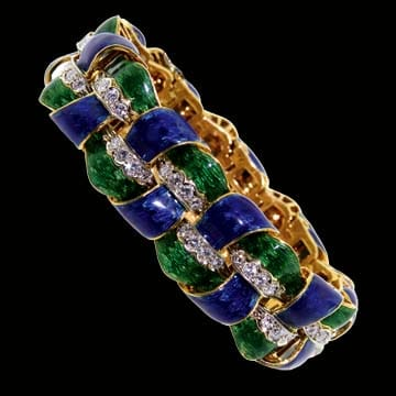 Blue And Green Guiloch`e -Enameled Bracelet With Diamonds 1
