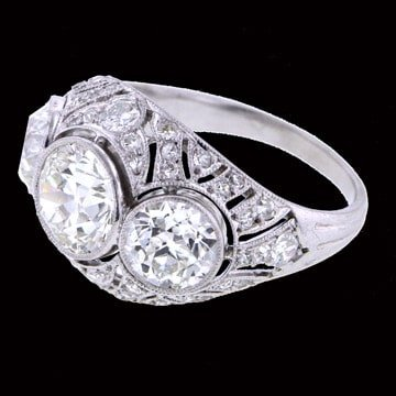 Platinum Edwardian Three Stone Diamond Ring 1
