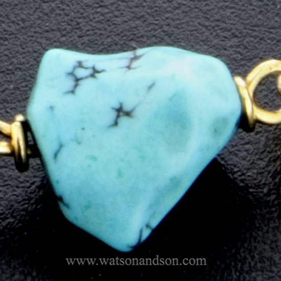 18 Kt Yellow Gold And Tumbled Turquoise Bracelet 2