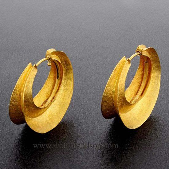 22 Kt Yellow Gold Bohemian Drop Hoop Earrings 1