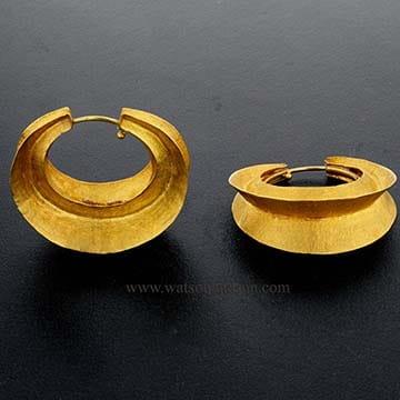 22 Kt Yellow Gold Bohemian Drop Hoop Earrings 3