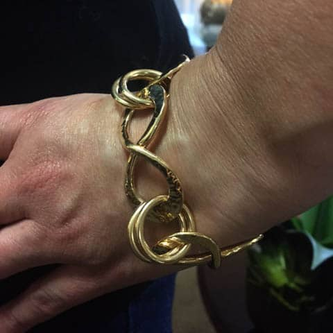 Yellow Gold Hand Wrought Infinity Bracelet 3