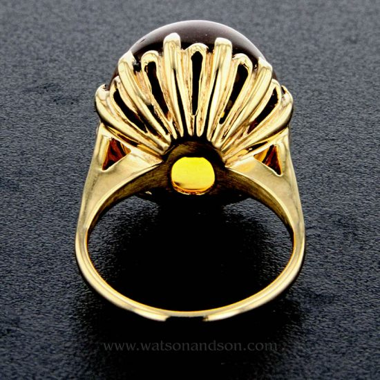 Golden Cabochon Cut Citrine Ring 4
