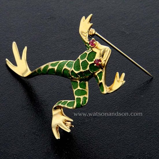 Green Enameled Leaping Frog 3