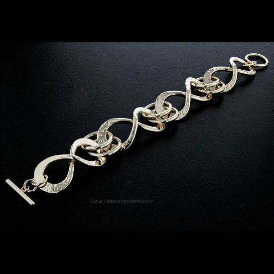 Yellow Gold Hand Wrought Infinity Bracelet 2