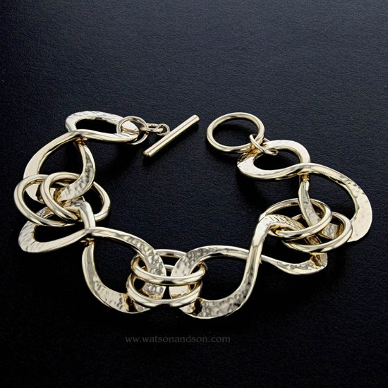 Yellow Gold Hand Wrought Infinity Bracelet 1