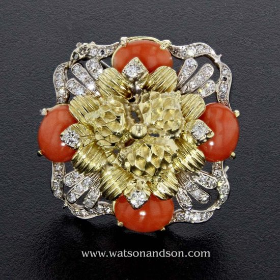 Coral And Diamond Pendant / Brooch In 18 Kt Yellow And White Gold 1