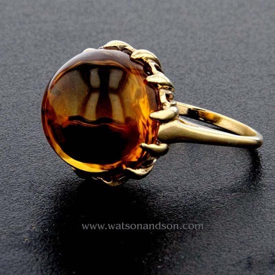 Golden Cabochon Cut Citrine Ring 2
