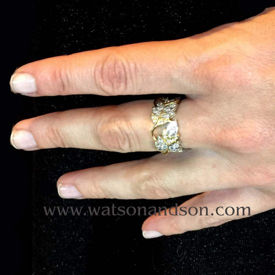 Tiffany Schlumberger Four Leaves Ring In Platinum And 18 Kt Yellow Gold 2