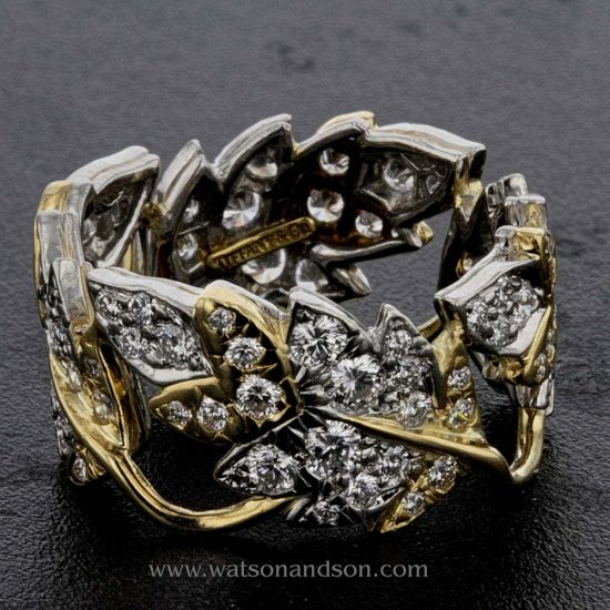Tiffany Schlumberger Four Leaves Ring In Platinum And 18 Kt Yellow Gold 1