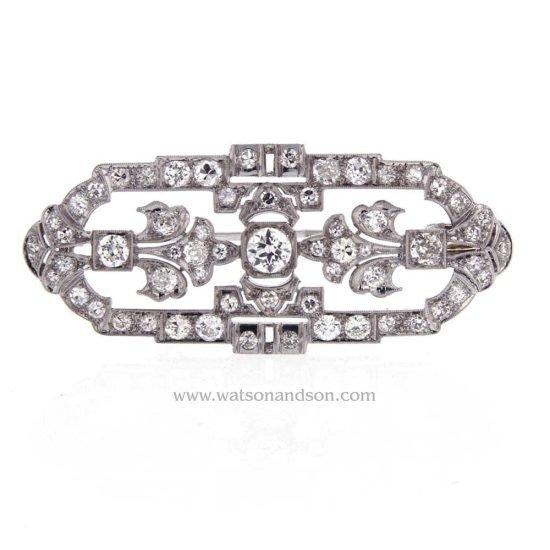 Art Deco Platinum Pendant - Brooch 3