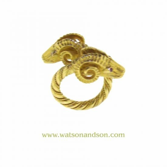 18 Kt Yellow Gold Double Rams Head Ring 3