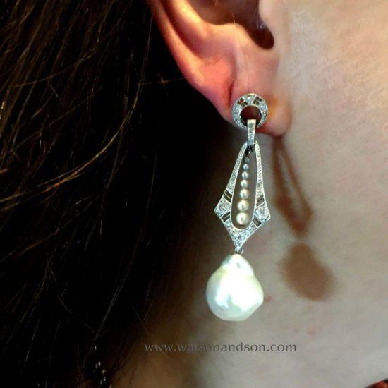 Platinum Diamond And Baroque South Sea Pearl Drop Earrings 2