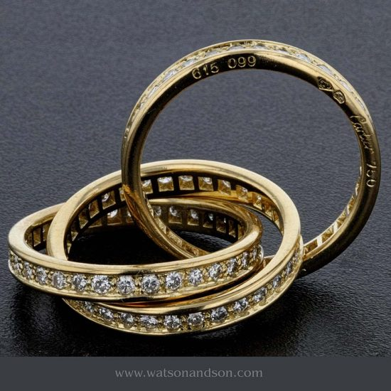 18 Kt Yellow Gold &Quot;Trinity De Cartier&Quot; Diamond Ring 2